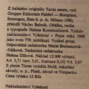 antikvární kniha Pozdní léto, 1988