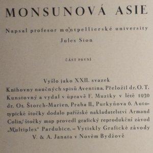 antikvární kniha Zeměpis světa. Díl devátý, Monsunová Asie. Část první, Všeobecný popis, Čína, Japonsko, 1930
