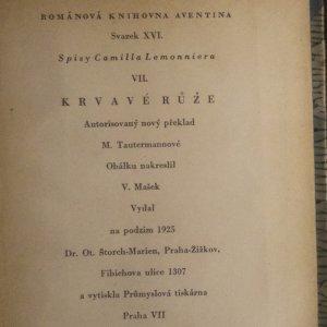 antikvární kniha Spisy Camilla Lemonniera VII. Krvavé růže, 1925