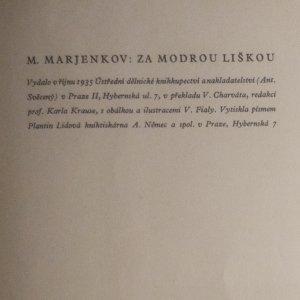 antikvární kniha Za modrou liškou, 1935