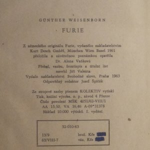 antikvární kniha Furie, 1963