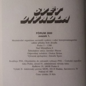 antikvární kniha Svět divadla, 1989