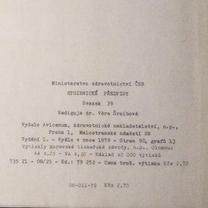 antikvární kniha Hygienické předpisy 39/1978. Směrnice o hygienických požadavcích na pracovní prostředí, 1979