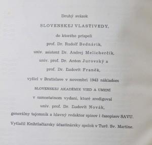 antikvární kniha Slovenská vlastiveda (třis vazky), 1943 - 1944