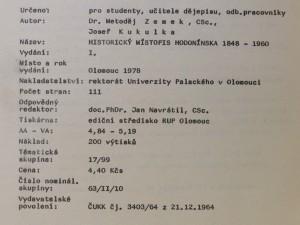 antikvární kniha Historický místopis Hodonínska 1848 - 1960, 1979