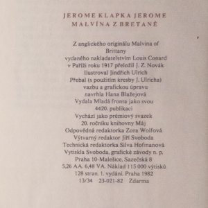 antikvární kniha Malvína z Bretaně, 1982