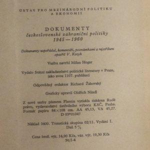 antikvární kniha Dokumenty československé zahraniční politiky 1945-1960, 1960