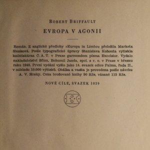 antikvární kniha Evropa v agonii, 1948