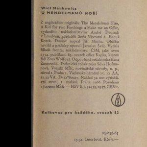 antikvární kniha U Mendelmanů hoří, 1966