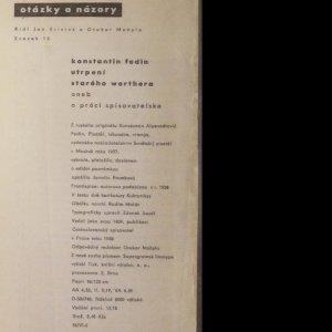 antikvární kniha Utrpení starého Werthera aneb O práci spisovatelské, 1958