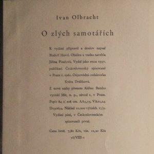antikvární kniha O zlých samotářích, 1960