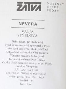 antikvární kniha Nevěra, 1984