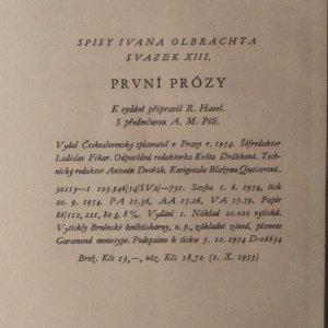 antikvární kniha První prózy, 1954