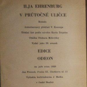 antikvární kniha V průtočné uličce , 1928
