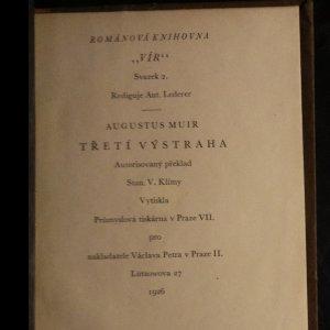 antikvární kniha Třetí výstraha. Román, 1926