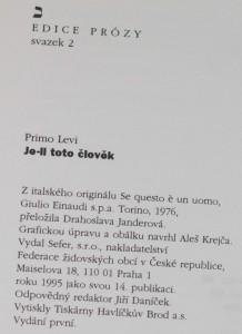 antikvární kniha Je-li toto člověk, 1995