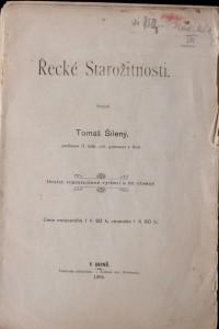 antikvární kniha Řecké Starožitnosti, 1906