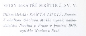 antikvární kniha Santa Lucia, 1940