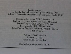antikvární kniha Opava a okolí turistický průvodce, 1993