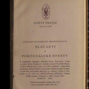 antikvární kniha Portugalské sonety. Pláč dětí., 1973