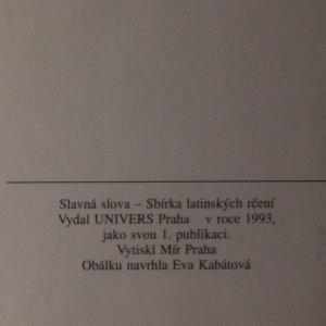 antikvární kniha Slavná slova. Sbírka latinských rčení, 1993