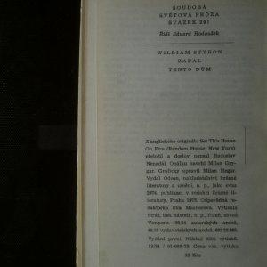 antikvární kniha Zapal tento dům, 1973