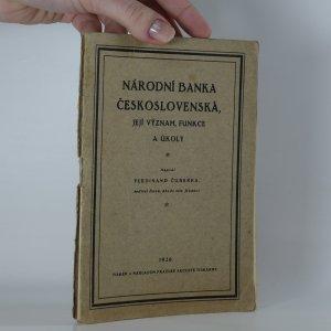 náhled knihy - Národní banka československá, její význam, funkce a úkoly