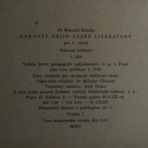 antikvární kniha Rukověť dějin české literatury pro 9. ročník všeobecně vzdělávacích škol : Pokusná učebnice. 1. část, 1957