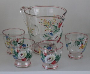 náhled knihy - Ručně malovaný skleněný džbán a čtyři skleničky