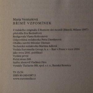 antikvární kniha Břímě vzpomínek, 2004