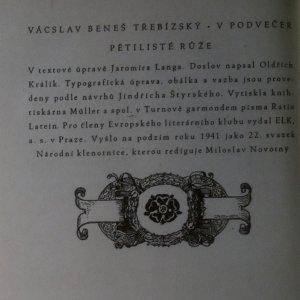 antikvární kniha V podvečer pětilisté růže, 1941