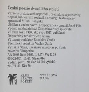 antikvární kniha Česká poezie dvacátého století, 1980