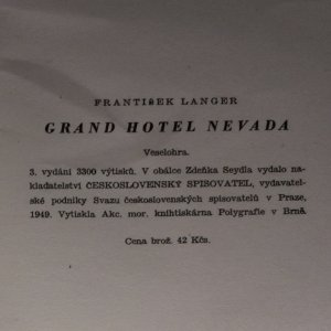 antikvární kniha Grand hotel Nevada, 1949