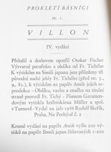 antikvární kniha Villon , 1946