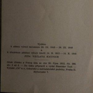 antikvární kniha Jak v Praze pohřbívali Dr. Václava Kaunice, 1948