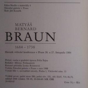 antikvární kniha Matyáš Bernard Braun 1684 - 1738, 1988