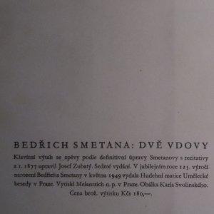 antikvární kniha Dvě vdovy. Definitivní Smetanova úprava s recitativy z roku 1877, 1949