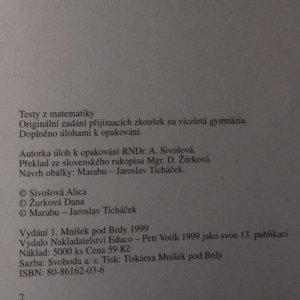 antikvární kniha Originální zadání přijímacích zkoušek na víceletá gymnázia. Testy z matematiky, 1999