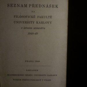antikvární kniha Seznam přednášek na Filosofické fakultě v letním semestru 1948-49, 1949