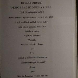 antikvární kniha Demokracie dnes a zítra, 1946