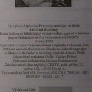 antikvární kniha 120 dnů Sodomy, 1992