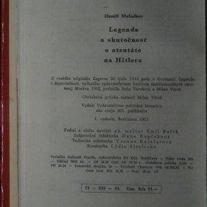 antikvární kniha Legenda a skutočnosť o atentáte na Hitlera, 1963