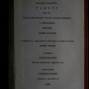 antikvární kniha Paměti Giacoma Casanovy. Díl III. , 1929