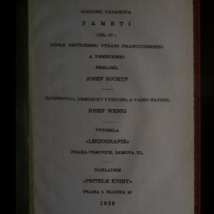 antikvární kniha Paměti Giacoma Casanovy. Díl IV., 1929