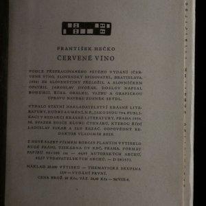 antikvární kniha Červené víno, 1958
