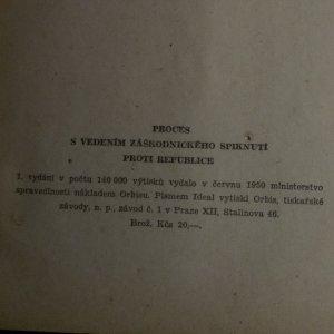 antikvární kniha Proces s vedením záškodnického spiknutí proti republice, 1950