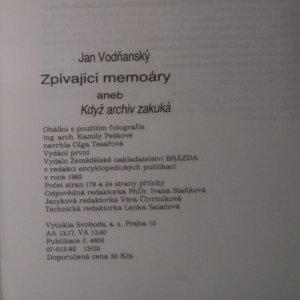 antikvární kniha Zpívající memoáry, aneb, Když archiv zakuká, 1992