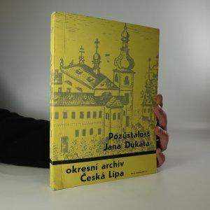 náhled knihy - Pozůstalost Jana Dukáta. Archívní katalog