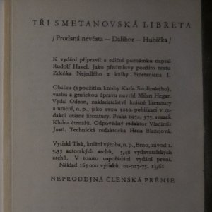 antikvární kniha Tři smetanovská libreta, 1974
