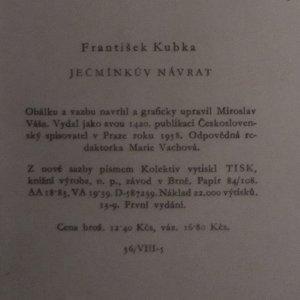 antikvární kniha Ječmínkův návrat, 1958